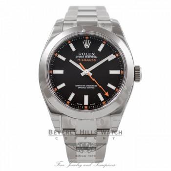 Rolex Milgauss Anti-Magnetic Steel Mens Black Dial 116400 UQ6ASV - Beverly Hills Watch Company Watch Store