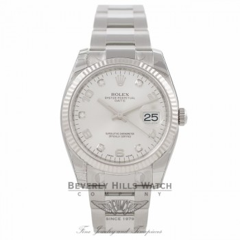 Rolex Date 34MM Stainless Steel 18k White Gold Fluted Bezel Silver Diamond Dial 115234 KPRM8Q - Beverly Hills Watch Company Watch Store