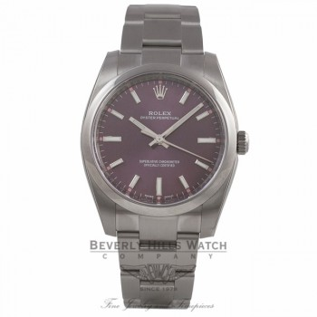 Rolex Oyster Perpetual 34mm Stainless Steel Red Grape Dial Index Markings Bracelet 114200 L921K9 - Beverly Hills Watch Company Watch Store