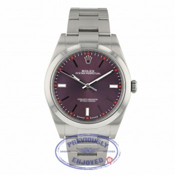 Rolex Oyster Perpetual 39mm Stainless Steel Red Grape Dial Index Markings Bracelet 114300 8HTE0E - Beverly Hills Watch Company