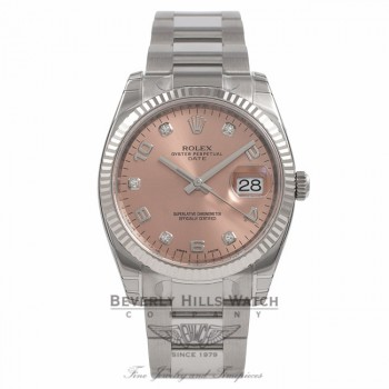 Rolex Date Oyster Perpetual 34MM 14K White Gold Fluted Bezel 115234 K9QZ8U - Beverly Hills Watch Company Watch Store