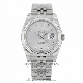 Rolex Datejust 36mm Stainless Steel White Gold Fluted Bezel Silver Diamond Dial 116234SDJ 0AXAPF - Beverly Hills Watch