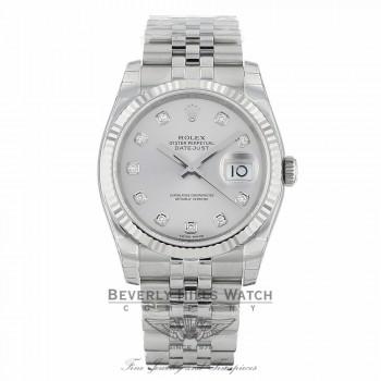 Rolex Datejust 36mm Stainless Steel White Gold Fluted Bezel Silver Diamond Dial 116234SDJ 0AXAPF - Beverly Hills Watch