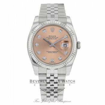 Rolex Datejust 36mm Stainless Steel White Gold Fluted Bezel Pink Diamond Dial 116234 21EFD5 - Beverly Hills Watch