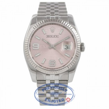 Rolex DateJust Pink Diamond Dial 18k White Gold Fluted Bezel 116234 HNYVSE - Bervely Hills Watch Company Watch Store