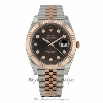 Rolex Datejust 41mm Chocolate Diamond Dial Steel 18K Everose Gold Jubilee 126331 - Beverly Hills Watch