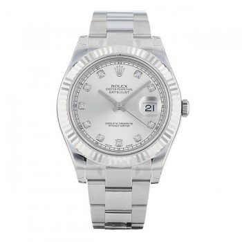 Rolex Datejust II 41MM 18k White Gold Fluted Bezel Silver Diamond Dial 116334 SDO 0WR1MA - Beverly Hills Watch