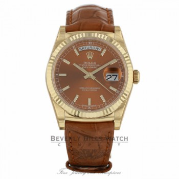 Rolex Day-Date President 36MM 18K Yellow Gold Cognac Dial Alligator Strap 118138 - Beverly Hills Watch
