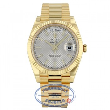 Rolex Day-Date President 40MM Yellow Gold Fluted Bezel Silver Motif Dial 228238 0MDXKL - Beverly Hills Watch Company