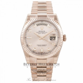 Rolex Day-Date President Everose 36MM Pink Champange Diamond Dial 118235 - Beverly Hills Watch Company Watch Store