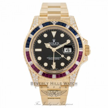Rolex GMT Master II 18K Yellow Gold Black Dial Rubies & Sapphire Bezel Diamond Case 116758 - Beverly Hills Watch Company Watch Store