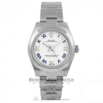 Rolex Oyster Perpetual No-Date 31MM Stainless Steel White Lacquer Dial Blue Roman Markers 177200 JPZWK2 - Beverly Hills Watch Company Watch Store