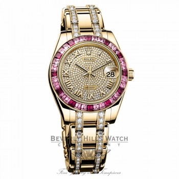 Rolex Datejust Pearlmaster 34 Yellow Gold 36 Pink Sapphire Bezel 81348SARO 1FYERT - Beverly Hills Watch