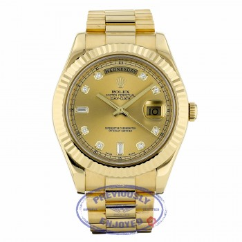 Rolex Day Date II 41mm 18K Yellow Gold Champagne Diamond Dial Fluted Bezel 218238 W17APQ - Beverly Hills Watch Company