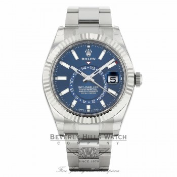 Rolex Sky-Dweller Stainless Steel 18k White Gold Fluted Bezel 42mm Blue Dial 326934 VZQ4JC - Beverly Hills Watch