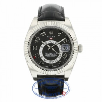 Rolex Sky Dweller Black Dial 18k White Gold Fluted Bezel Black Leather Strap 326139 TWVAC7 - Beverly Hills Watch Company