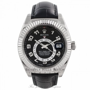 Rolex Sky Dweller Black Dial 18k White Gold Fluted Bezel Black Leather Strap 326139 YJCK23 - Beverly Hills Watch Company Watch Store