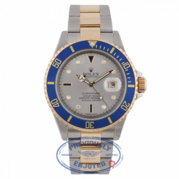 Rolex Submariner Champagne Diamond Sapphire Dial Yellow Gold and Stainless Steel Watch 16613 Y721C2 - Beverly Hills Watch Company