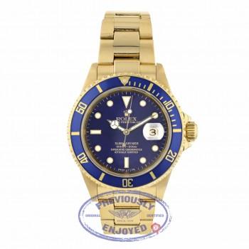 Rolex Submariner Yellow Gold Blue Dial Blue Bezel Oyster Bracelet 16618 Q30TFE