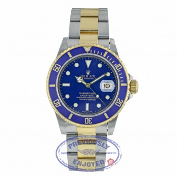 Rolex Classic Submariner 40mm Steel and Yellow Gold Blue Dial 16803 C66UA3 - Beverly Hills Watch Company