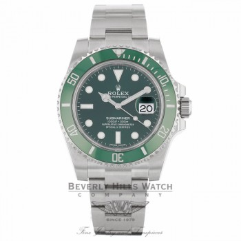 Rolex Submariner Stainless Steel Green Ceramic Bezel Green Dial 116610 X8KTXU - Beverly Hills Watch Company