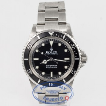 Rolex Submariner 5513 Stainless Steel Oyster Bracelet Black Dial Black Bezel Glossy Dial White Gold Surrounds 2 Line Feet First Dial Acrylic Crystal No Date Vintage Watch Beverly Hills Watch Company Watch Store