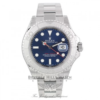 Rolex Yachtmaster 40mm Stainless Steel and Platinum Bezel Blue Dial 116622 - Beverly Hills Watch Company