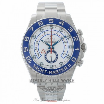Rolex YachtMaster II 44MM Stainless Steel Bi-Directional Rotating Bezel Blue Cerachrom 116680 PCY64V - Beverly Hills Watch Company
