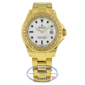 Rolex Yachtmaster 40mm Yellow Gold White Dial Watch 16628 N3AMWR - Beverly Hills Watch Company