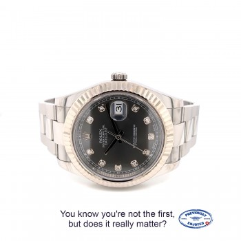 Rolex Datejust II 41MM White Gold Fluted Bezel Slate Diamond Dial 116334 53DH8R