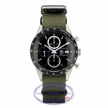 Tag Heure Carrera 41MM Stainless Steel Black Dial Automatic Green Fabric Strap CV2010.BA0794 JVDL8J - Beverly Hills Watch Company