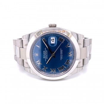 Rolex Datejust 41mm Smooth Bezel Blue Roman Dial 126300 TLZ54Y - Beverly Hills Watch Company