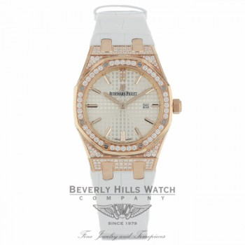 Audemars Piguet Royal Oak 33mm Rose Gold Diamond Bezel and Case 67652OR.ZZ.D011CR.01 66K7KD - Beverly Hills Watch