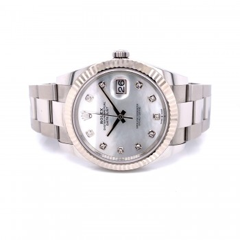 Rolex Datejust 41mm White Mother of Pearl Diamond Dial 126334 TYZXMC - Beverly Hills Watch Company