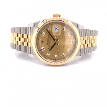 Rolex Datejust 36mm Yellow Gold and Stainless Jubilee Champagne Diamond Dial 126233 UPD1EH - Beverly Hills Watch Company