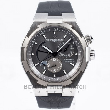 Vacheron Constantin Overseas Dual Time Day Night Indicator Titanium Bezel Stainless Steel 42mm Case Rubber Strap Watch 47450/000W-9511 Beverly Hills Watch Company Watch Store