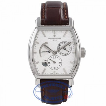 Vacheron Constantin Tonneau Malte Dual Time 18k White Gold Silver Dial Brown Alligator Strap 47400/000G-9100 KZ4Q90 - Beverly Hills Watch Company Watch Store