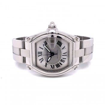 Cartier Roadster Large Stainless Steel Silver Dial W62000V3 VMNQ7M - Beverly Hills Watch Company