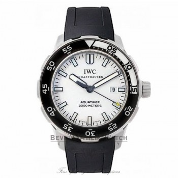 IWC Aquatimer Automatic 2000 Stainless Steel 44MM White Dial Black Rubber Strap IW356811 WQH3P4 - Beverly Hills Watch Store