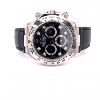 Rolex Daytona White Gold Black Diamond Dial 116519 WWRACD - Beverly Hills Watch Company