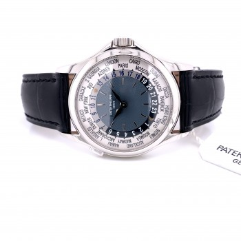 Patek Philippe Platinum World Timer 37mm Blue Dial 5110P Y24CE1 - Beverly Hills Watch Company