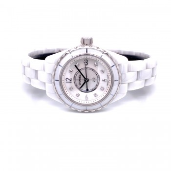 Chanel J-12 29mm White Ceramic Mother of Pearl Diamond Dial H2570 YPDDYR - Beverly Hills Watch Company
